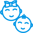 Baby boy and girl icon