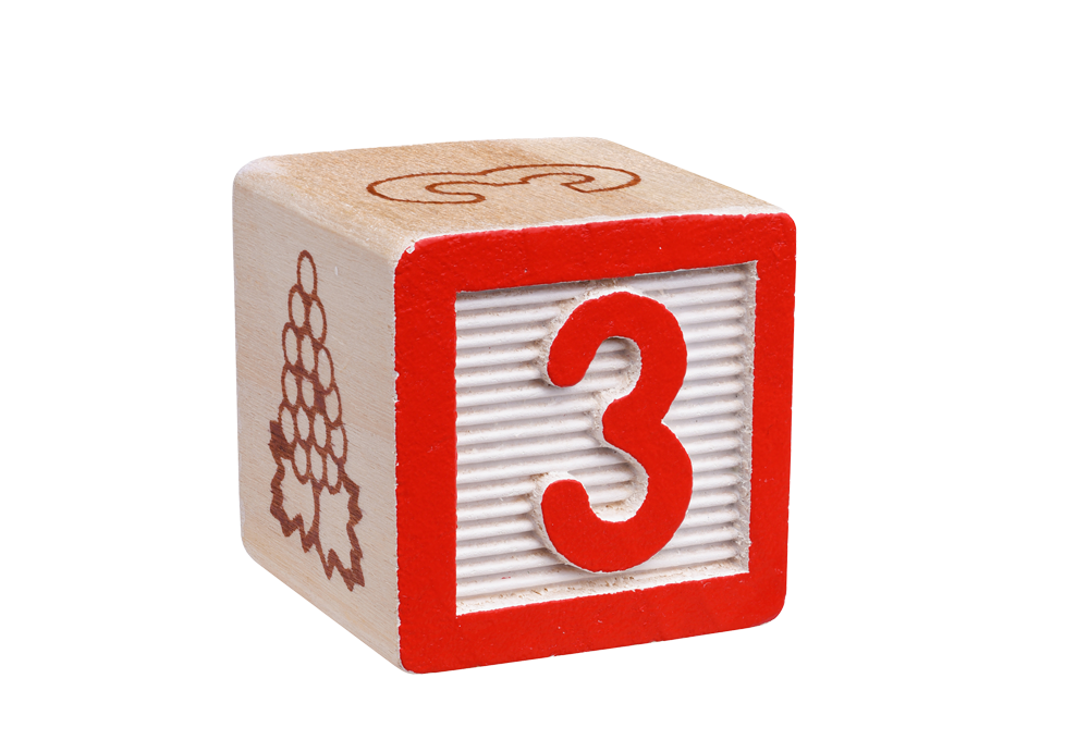 Number 3 child's toy block