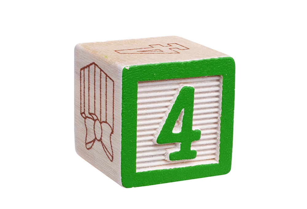 Number 4 toy block
