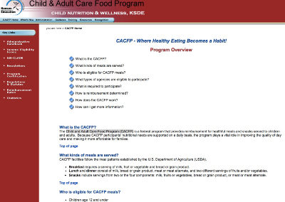 Child and Adult Care Food Program (CACFP)