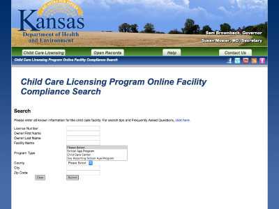 Child Care Licensing Program Online Facility Compliance Search