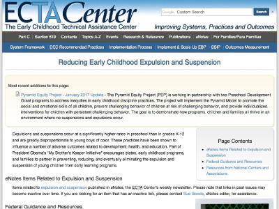 The Early Childhood Technical Assistance Center – Reducing Expulsion Resource