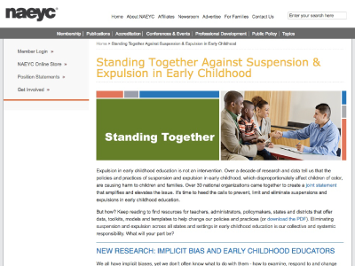 NAEYC – Standing Together Against Suspension & Expulsion in Early Childhood