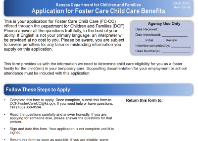 Application for Foster Care Child Care Benefits