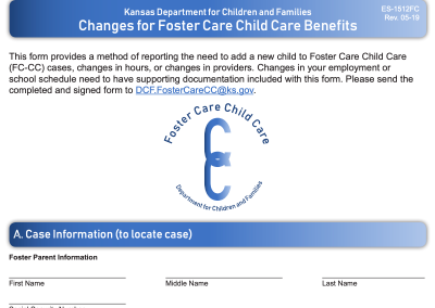 Foster Care Child Care Change Form
